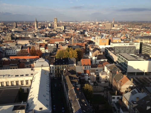 "Student city Ghent in Belgium - view from the famous university library building ""boekentoren"" http://en.wikipedia.org/wiki/Boekentoren"