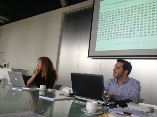 """George Tzovlas and me, just before presenting the preliminary results of our research project """"The European campus"""""""