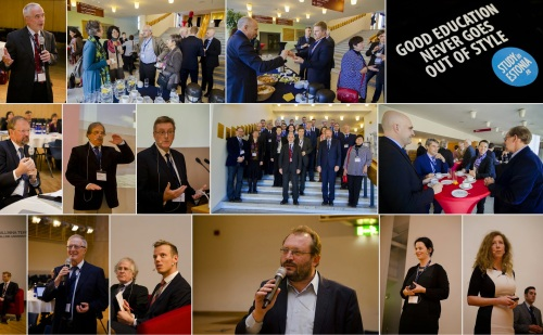 impressions of CESAER's annual seminar - CESAER's president Karel Luyben in the upper-left corner, authors Den Heijer + Tzovlas in the bottom-right corner - photographer: Sten-Ander Ojakallas for Tallinn University of Technology in Estonia